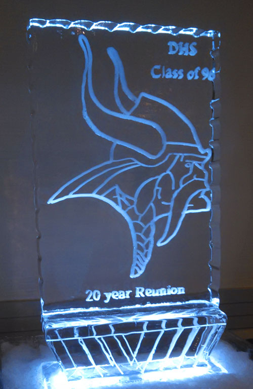 high school reunion ice logo sculpture